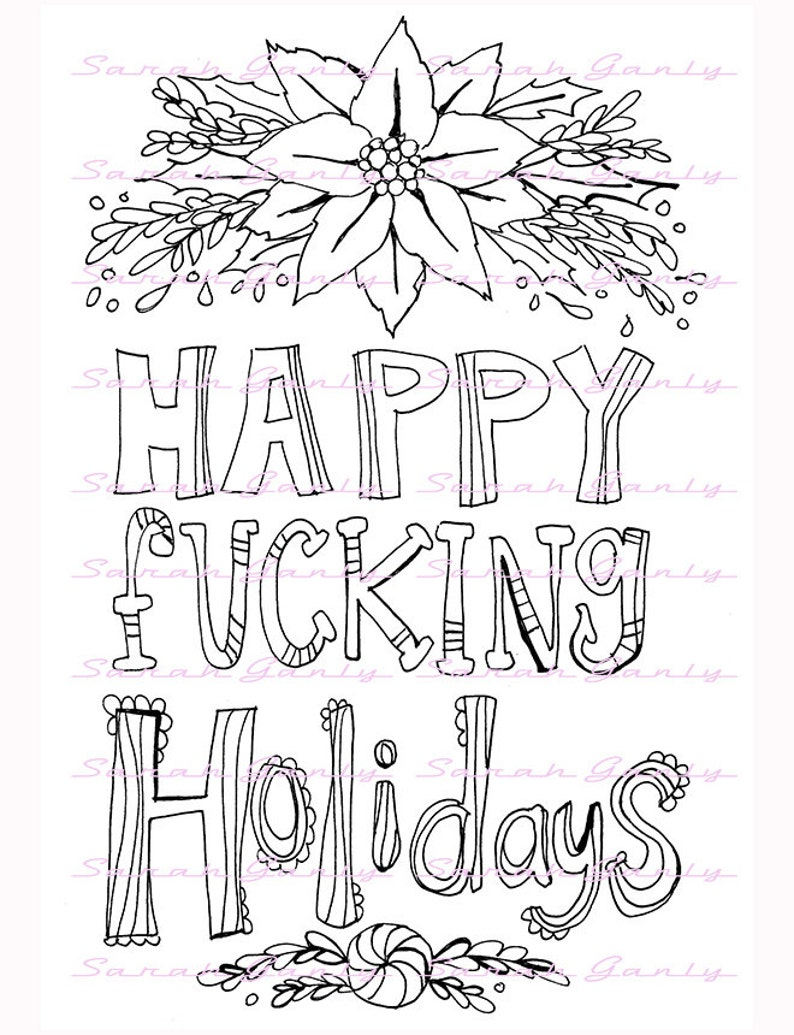 Holiday swear word coloring book 21 pages swear coloring ...
