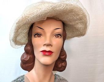 Vintage 1960s 1970s Crinoline Boho Hippy Cream Wide Brim Wedding Hat Bohemian Bridal Hat