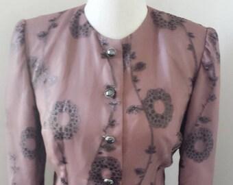 Vintage 1960s Skirt Suit   Mauve Chiffon Suit Mother of the Bride  Wedding Formal Suit Size L