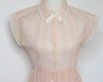 474033f6e3d Vintage 1950s Pale pink Sheer Embossed Button up Pinup Shirt Picnic dress