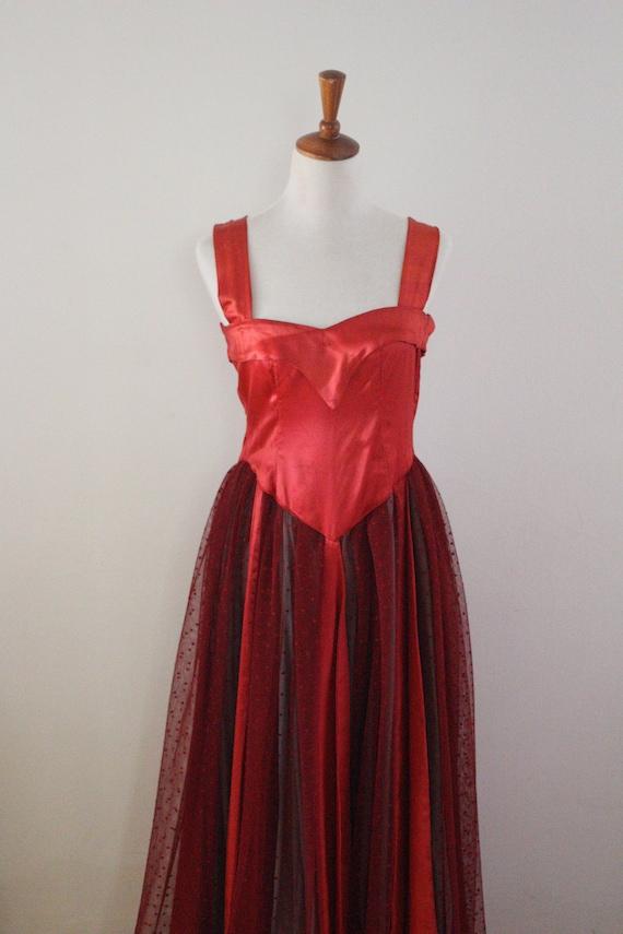 Vintage 1950s Ballerina Dress Fairytale Dress Red