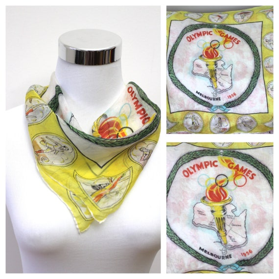 Vintage Olympics Silk Scarf Melbourne Olympic Game