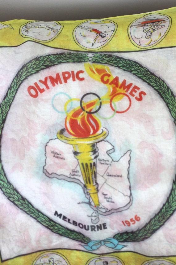 Vintage Olympics Silk Scarf Melbourne Olympic Gam… - image 3