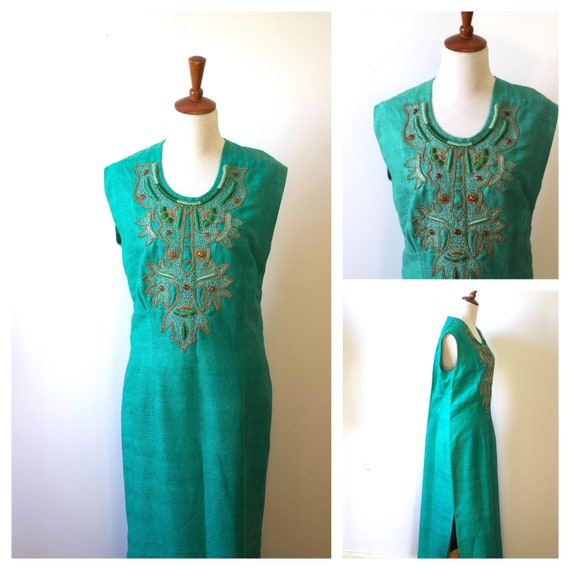 Vintage 1960s 1970s Green Embroidered Kaftan Dress