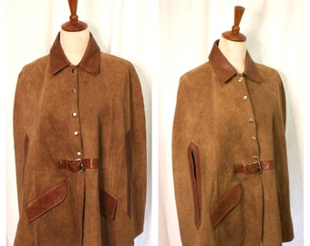 Vintage 1970s Brown Suede & Leather Boho Cape Jacket / One Size