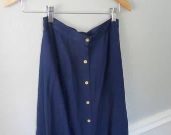 midi navy blue button skirt