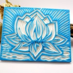 "Sweety Bijou. #4 Two side hand carved unique ""Lotus"" texture-stamp 100x80mm from Japanese carving rubber mat. One of a kind!"