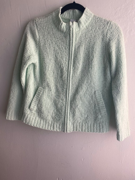 90s Vintage Mint Green Cropped Cardigan Sweater - image 2