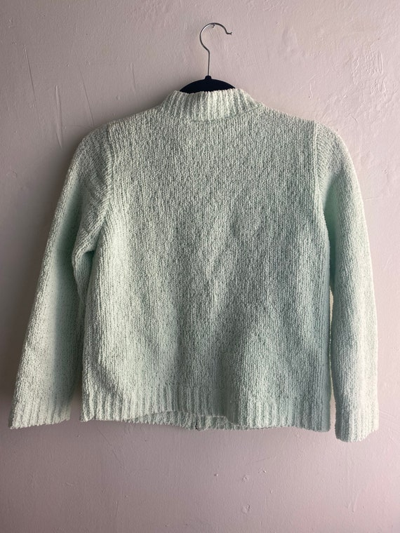 90s Vintage Mint Green Cropped Cardigan Sweater - image 7