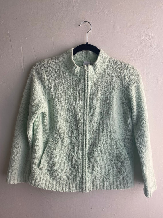 90s Vintage Mint Green Cropped Cardigan Sweater - image 8