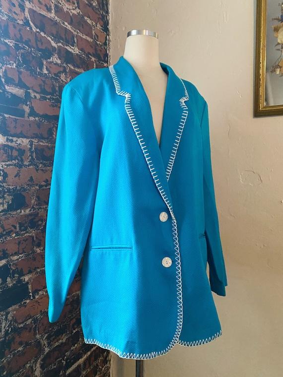 Vintage 80s Stitched Edge Cerulean Blue Blazer/Jac