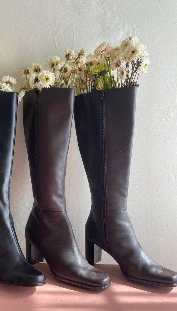 90s Vintage Leather Brown Chunky Heel    Knee-Leng