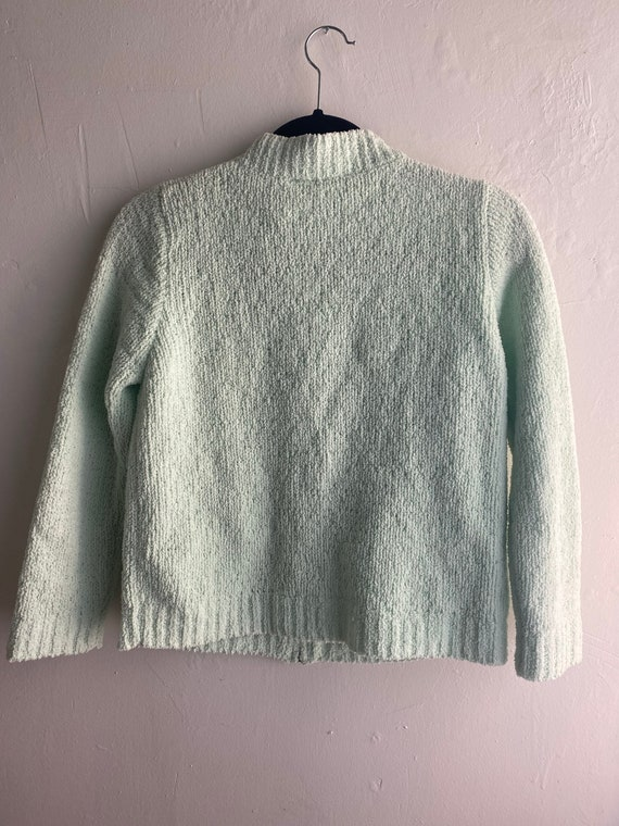 90s Vintage Mint Green Cropped Cardigan Sweater - image 6