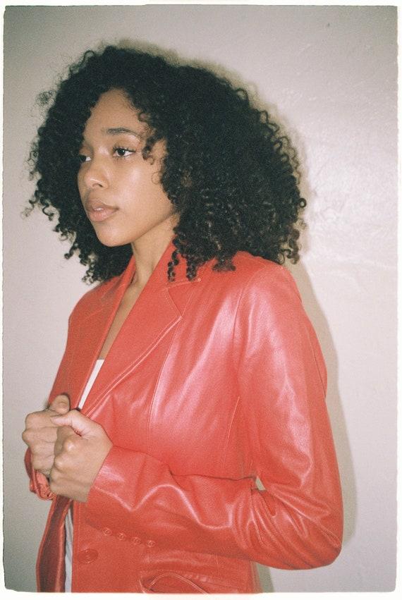 Vintage Blood Orange Leather Blazer Jacket