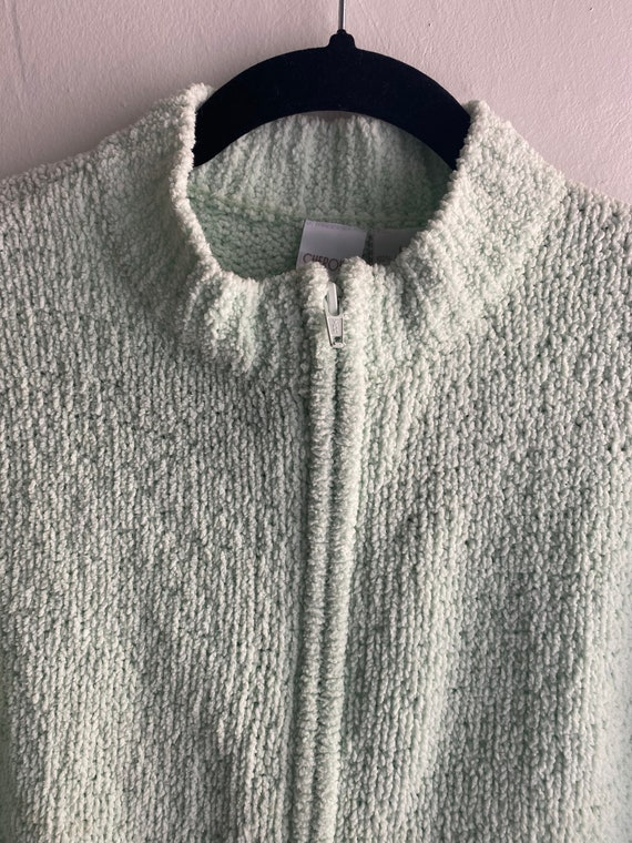 90s Vintage Mint Green Cropped Cardigan Sweater - image 3
