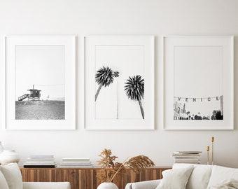 Los Angeles Photography, Print Set of 3 - Unframed, Venice Beach Wall Art, Black and White Decor, LA Wall Art, Coastal Decor, Minimalist LA