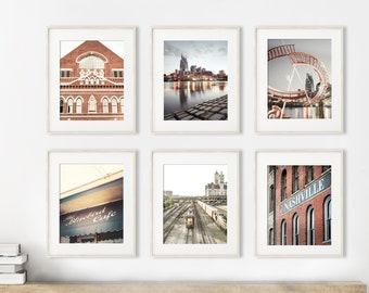 Nashville Photography Art, Set of 6, Unframed Prints, Downtown Nashville, Travel Art, Tennessee Wall Art | Many Sizes