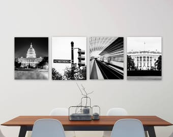 Washington DC, Set of 4, Art, Black and White Photography, Architectural Print, Capitol Building, White House, Metro, Independence Ave