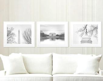 Washington DC Photography Set of 3, Black and White Art Print Set, Capitol, Lincoln Memorial,Washington Monument, DC Wall Decor | Many Sizes