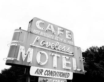 "Nashville Art, Nashville Photography, Loveless Cafe, Nashville Sign, Vintage Nashville, Loveless, Diner Decor, Orange, Neon Sign ""Biscuits"""