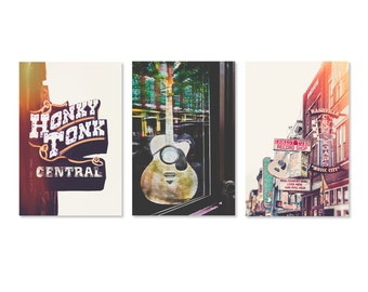 Nashville Wall Art, Set of 3 Photo Prints, Downtown Nashville Decor, Urban Photography, Country Music Art, Neon Sign, Poster, Pick Your Size