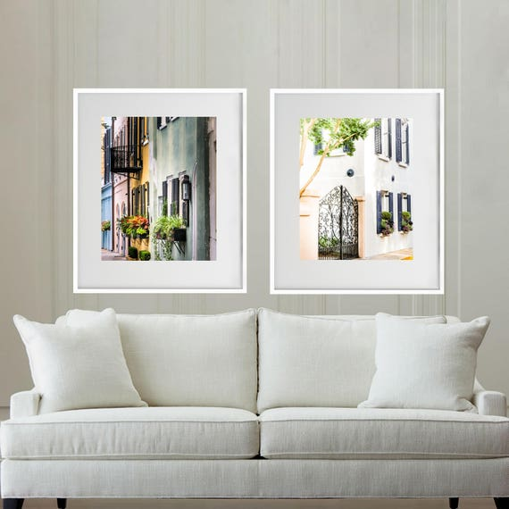 Home Decor Charleston Sc.Charleston Print Set Charleston Sc Photography Rainbow Row Southern Home Decor Charleston Window Set Of 2 Charleston Gate Travel Art