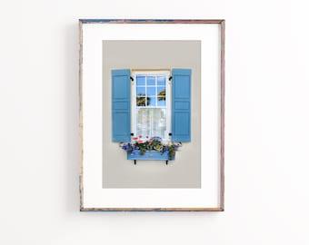 Charleston Art, Windows of Charleston Photography- Unframed, Window Box Decor, Blue Wall Art,Southern Home Decor,Living Room Art |Many Sizes