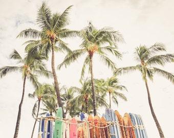 "Surfboard Art, Surf Decor, Hawaiian Art, Surfboard Photography, Palm Tree, Beach Print, Vintage Surfboard Decor, Beach Wall Art- ""Beach Bum"""