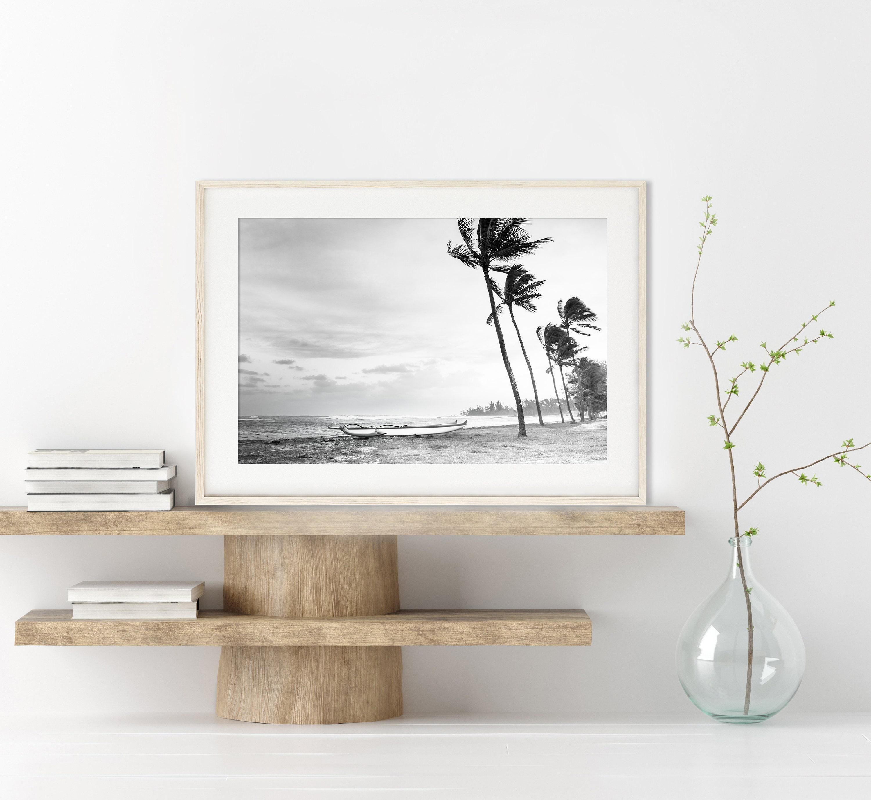 Maui Beach Hawaii Print Black and White Drawing Pen and Ink Hawaii