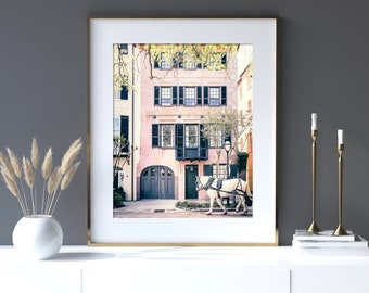 Charleston Art, Unframed Photography, Pink House, Architectural Charleston Print, Southern Home Decor, Pink Art, Horse Carriage | Many Sizes