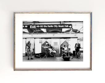 "New York City Art, Music Art, Black and White Photography, Subway Music, Jazz Print, Street Musician, NY Wall Decor, Vintage  ""Radio City"""