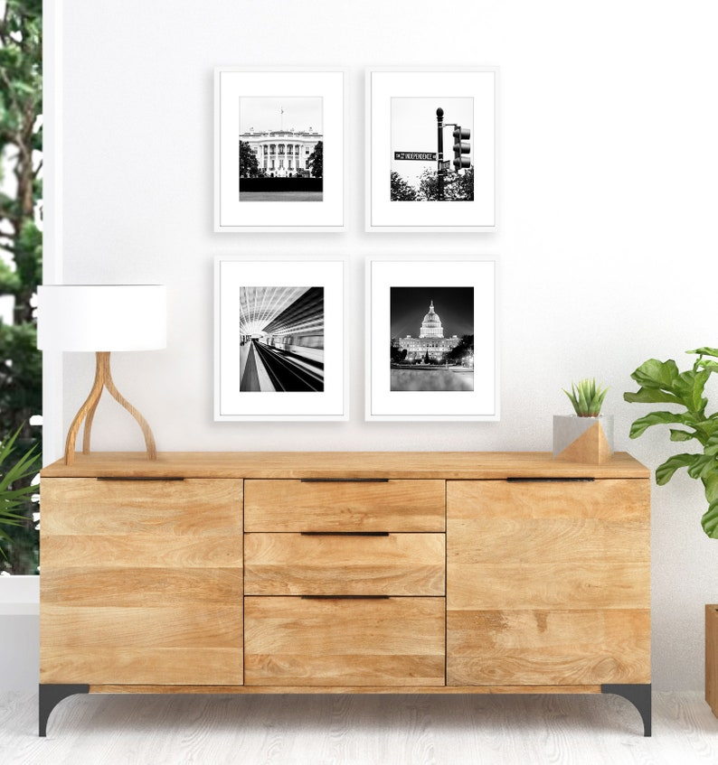 Architectural Wall Art featuring Capitol Building White House Metro Washington DC Print Set of 4 Black and White Photography
