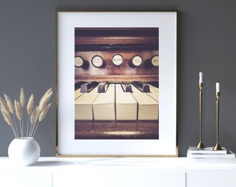 Piano Art, Music Print | Photography - Unframed | Vintage Organ, Vintage Music Art, Brown Wall Decor, Gift for Musician | Many Sizes