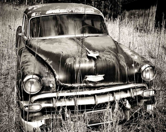 Old Chevy Car Art Black and White Photography Print Wall | Etsy