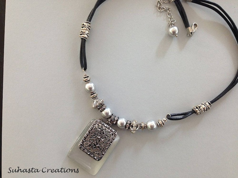 Rectangular Antique Silver Pendant Necklace Gray Glass Pendant Light Gray Glass Pearl Leather Corded Necklace