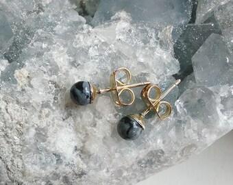 Earrings l Snowflake Obsidian (mini)