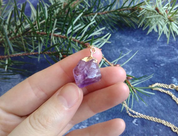 Necklace L Chunky Amethyst by Etsy