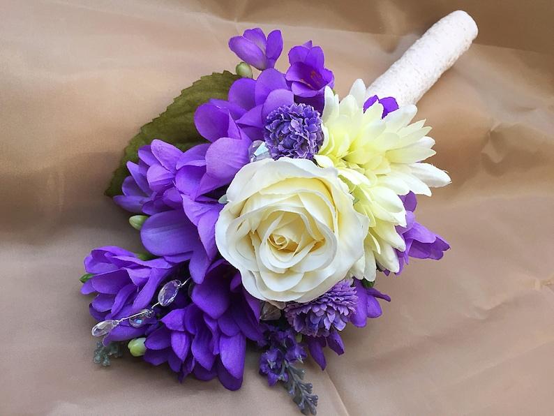 Bouquet Sposa Lilla.Mazzo Di Gerbera In Avorio Lilla Viola Seta Bouquet Sposa Damigelle Di Rosa Lavanda Fresia