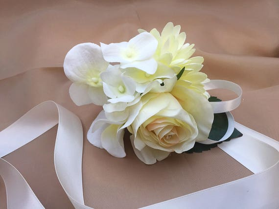 Wrist Corsage Silk Flowers Wedding Prom Ivory Rose Gerbera Etsy