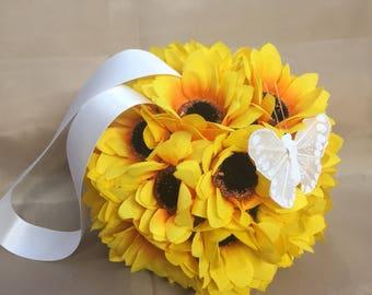 Artificial sunflower pomanders, kissing balls, for decoration or flower girls - Back in stock!