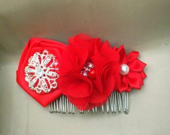 Hair Comb Red Satin Chiffon Brooch - Bridal Wedding Evening Prom Hair Accessory