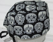 Halloween Sugar skull scrub hat, chemo hat, cancer hat, chef hat with a built in terry cloth sweat band. Glow in the dark. Handmade