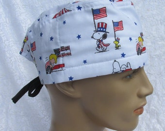 Upcycled clothing handmade Made in the USA. cancer hat scrub hat with a cotton terry cloth sweat band Womens chemo hat