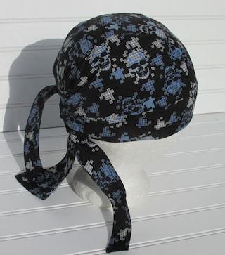 Skull cap, doo rag, chemo hat, cancer hat, chef's hat with a terry cloth sweat band.  Handmade.