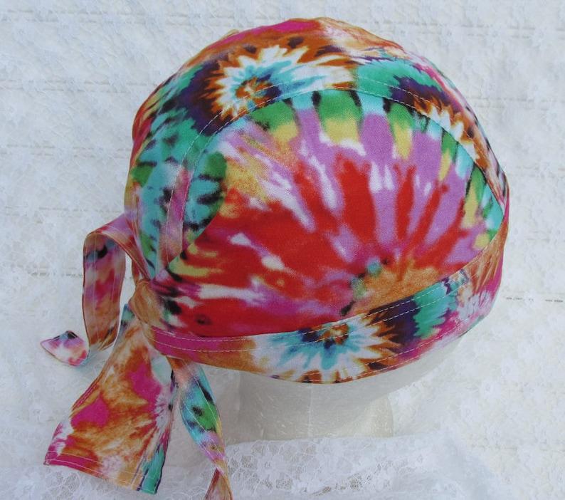 Orangish Doo Rag Skull cap Tye Dye