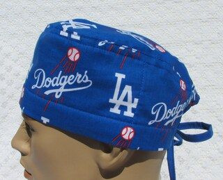 LA Dodgers scrub hat, chemo hat, cancer hat, chef's hat with a terry cloth sweat band.  Handmade in the USA.
