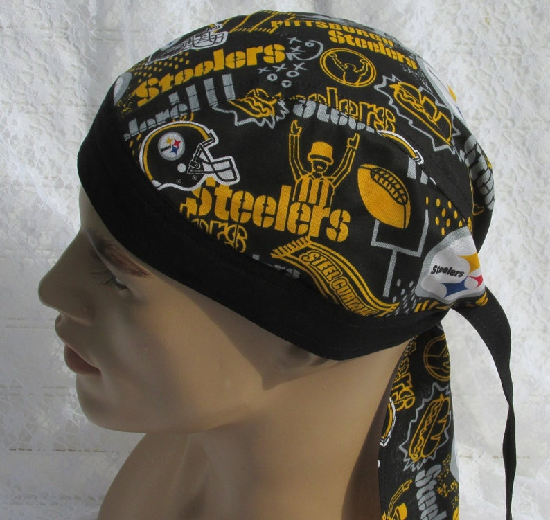380b3ec30 Pittsburgh Steelers skull cap, doo rag, chemo hat, cancer hat with a cotton  terry cloth sweat band. Handmade in the USA.