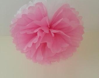 3 pink/white tissue paper pom poms decorations