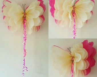 """One 14"""" girls birthday party decorations tissue paper wall butterflys nursery bedroom wedding sweet 16"""