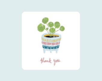 Pilea, illustrated card, plant lover gifts, thank you card